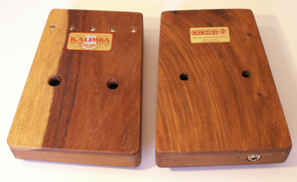 Left: 1968 Hugh Tracey Treble Kalimba and  Right:  2011 Hugh Tracey Kalimba