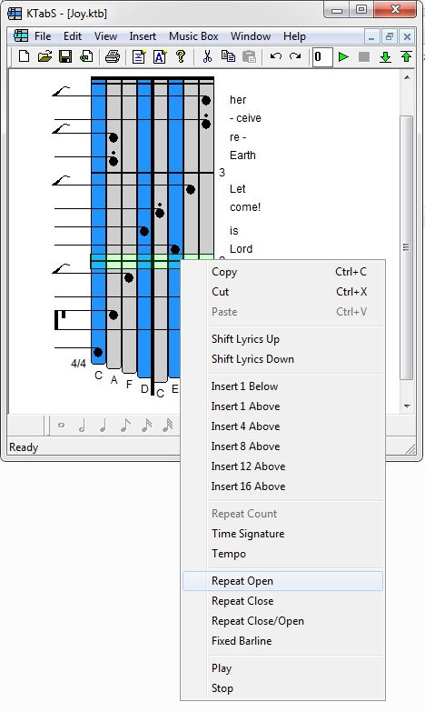 Editing the Tablature to Repeat a Section